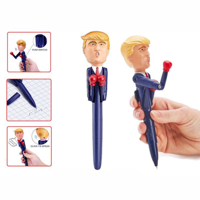 Lápiz de boxeo de juguete que habla Trump, bolígrafo que habla con alivio del estrés, voces reales de Trump para regalos a familiares, amigos inteligentes. Caliente
