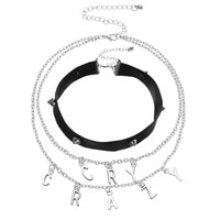cosyoo multilayer choker alloy chain lettered faux leather necklace with female rivets inlaid with diamond collar chain