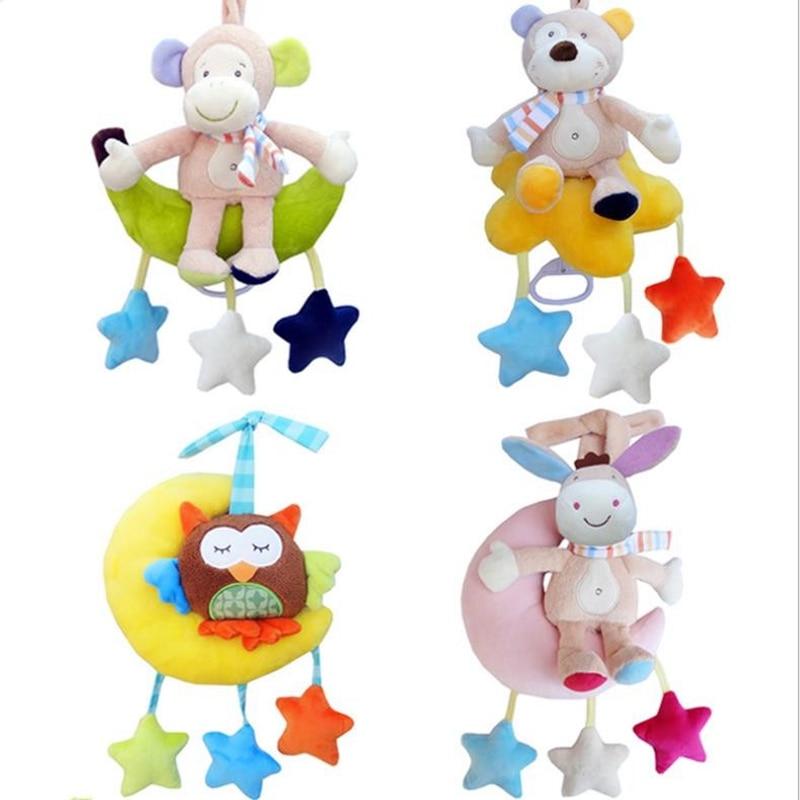 Bebé muñeca cómoda multifunción campana de cama de animales 0-1 años de edad anillo de música paño colgante de felpa jugar muñeca de juguete