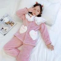 winter pajamas for kids flannel thicken pajamas girl 8 years children homewear princess style girls christmas sleepwear sets