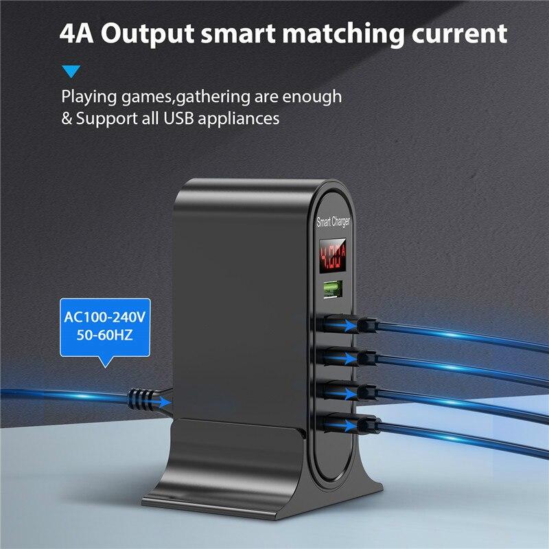 5 منفذ USB شاحن ل شاومي LED عرض متعدد USB شحن محطة العالمي الهاتف سطح المكتب جدار المنزل الاتحاد الأوروبي الولايات المتحدة المملكة المتحدة التوصي...