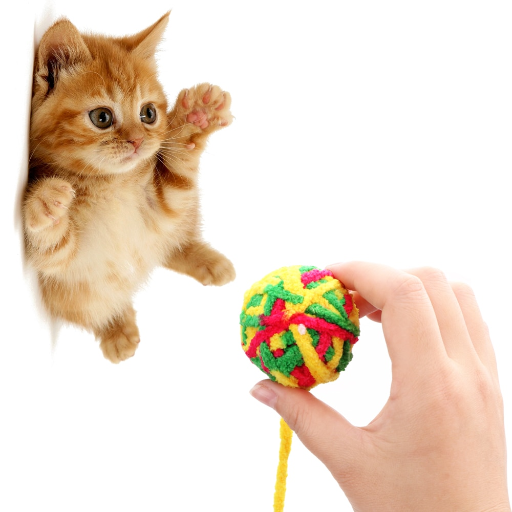 Pet Cat Toys Pet Products Chew Scratch Catch Toys Cat Teaser Rope Weave Ball Cat Football Training Toys Pet Teeth Cleaner