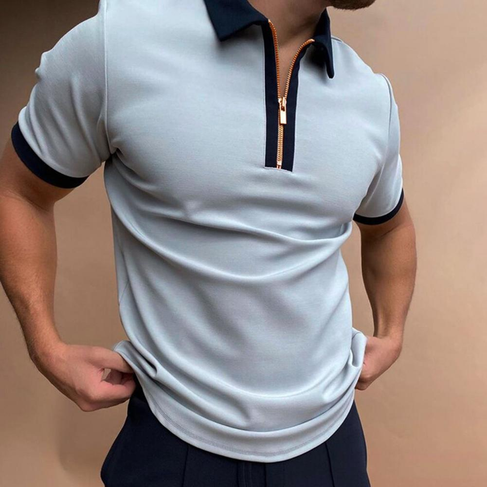 Fashion Patchwork Men Short Sleeve Polos Shirts Casual Turn-down Collar Zipper Design Tops 2021 Summer Harajuku Men's Streetwear inclined zipper fly rib spliced turn down collar slimming flocked sweatshirt for men