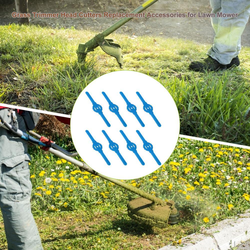 8pcs Replacement Plastic Grass Trimmer Head Strimmer Grass Cutter Head Lawn Mower Accessories Cutting Garden Blade Tool