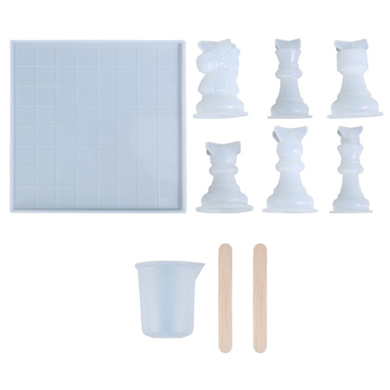 1Set 3D Chess Pieces Crystal Epoxy Resin Mold Handmade Chessborad Silicone Mould C7AE
