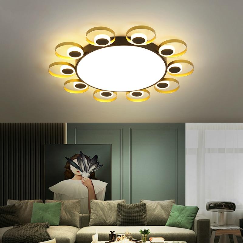 Moderna y creativa lámpara LED de techo para comedor, sala de estar, dormitorio, decoración para el hogar, ajuste de 3 colores, luz de techo negra y dorada