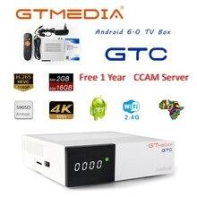 Freesat GTC 4 K Android TV Box Récepteur DVB-C Câble Youtube DVB-S2 DVB-T2 Bluetooth 4.0 Récepteur Satellite Cccam IPTV Biss VU