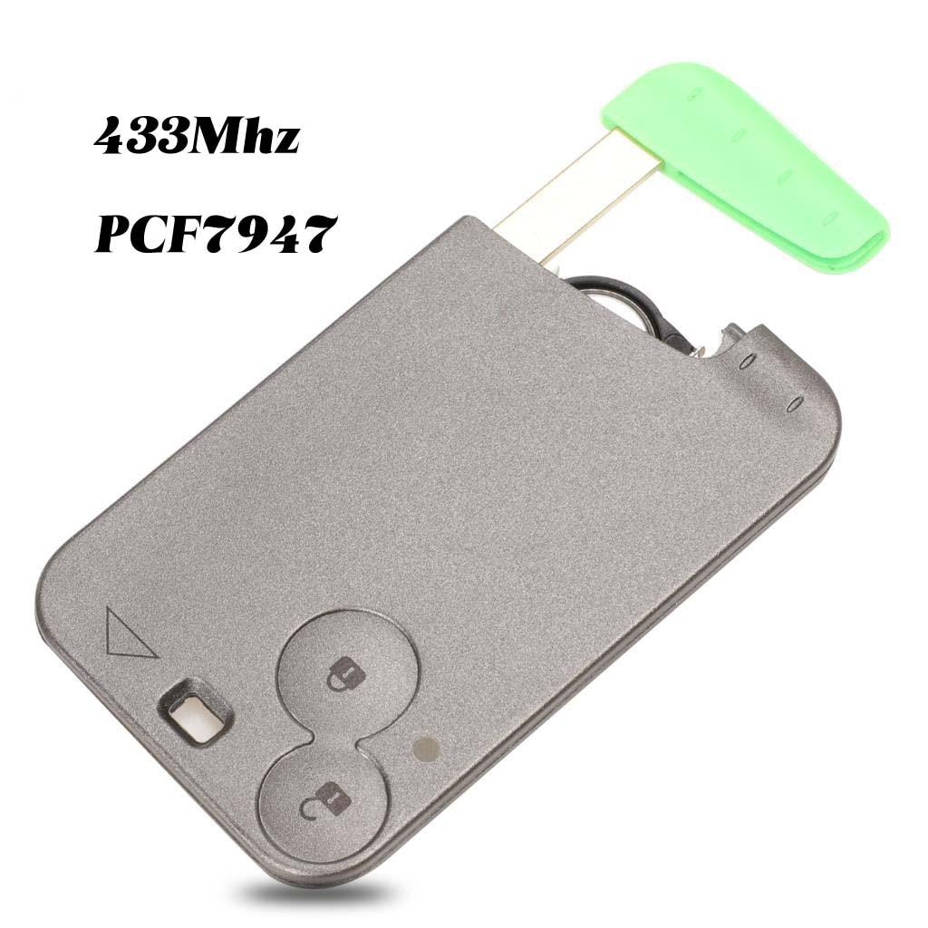 Jingyuqin 433 MHz Pcf7947 Chip 2 botones remoto de la llave del coche carcasa de la tarjeta con la hoja para Renault Laguna con la hoja de llave sin cortar