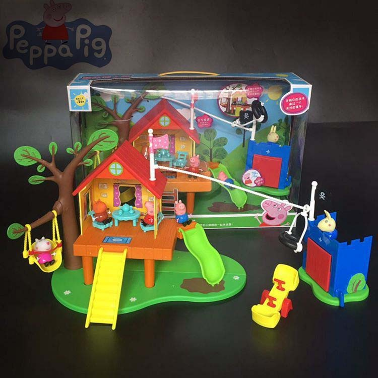 2020 mais novo peppa pig cena brinquedos pacote floresta anime brinquedos slide parque de diversões papéis completos figura ação modelo pelucia crianças presente