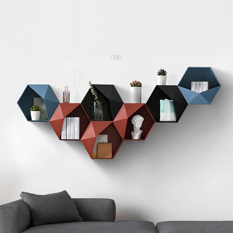 Pared de salón nórdica-montado geométrico sin perforaciones decoración de pared estante de baño decoración de sala de estar hexágono estante de almacenamiento