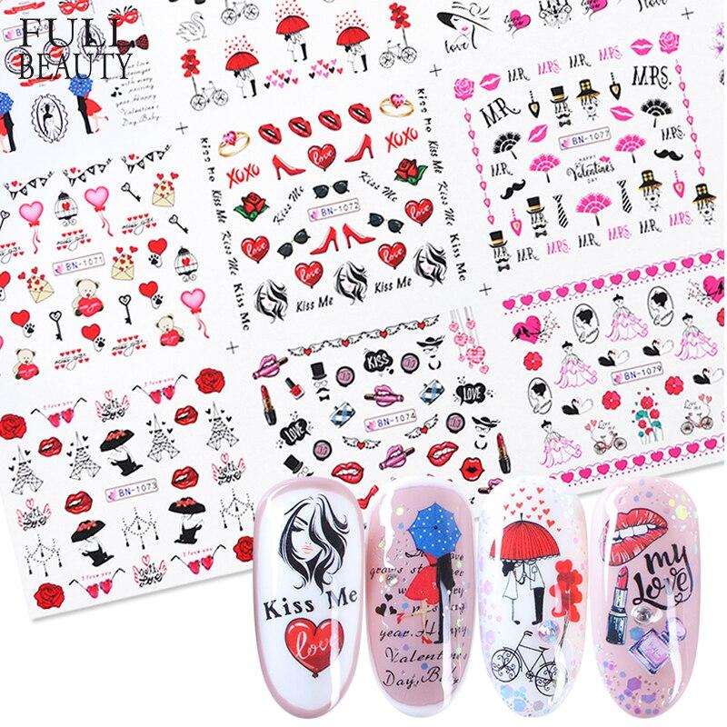 12 unidades de pegatinas de uñas coloridas para San Valentín, pegatinas de transferencia de agua, deslizador colorido para manicura, decoración de uñas, CHBN1069-1080