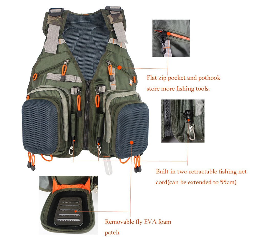 New Adjustable Men Fly Fishing  Vest Pack Multifunction Pockets Outdoor Mesh Backpack Fish Accessory bag enlarge