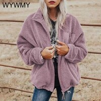 womens wool coat 2021 autumn winter plush coat casual loose warm long sleeve cardigan fashion solid color thick warm outwear