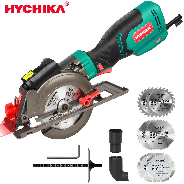 Hychika mini serra circular, 750w guia do laser serra circular elétrica, 3500rpm viu a ferramenta elétrica com 6 lâminas