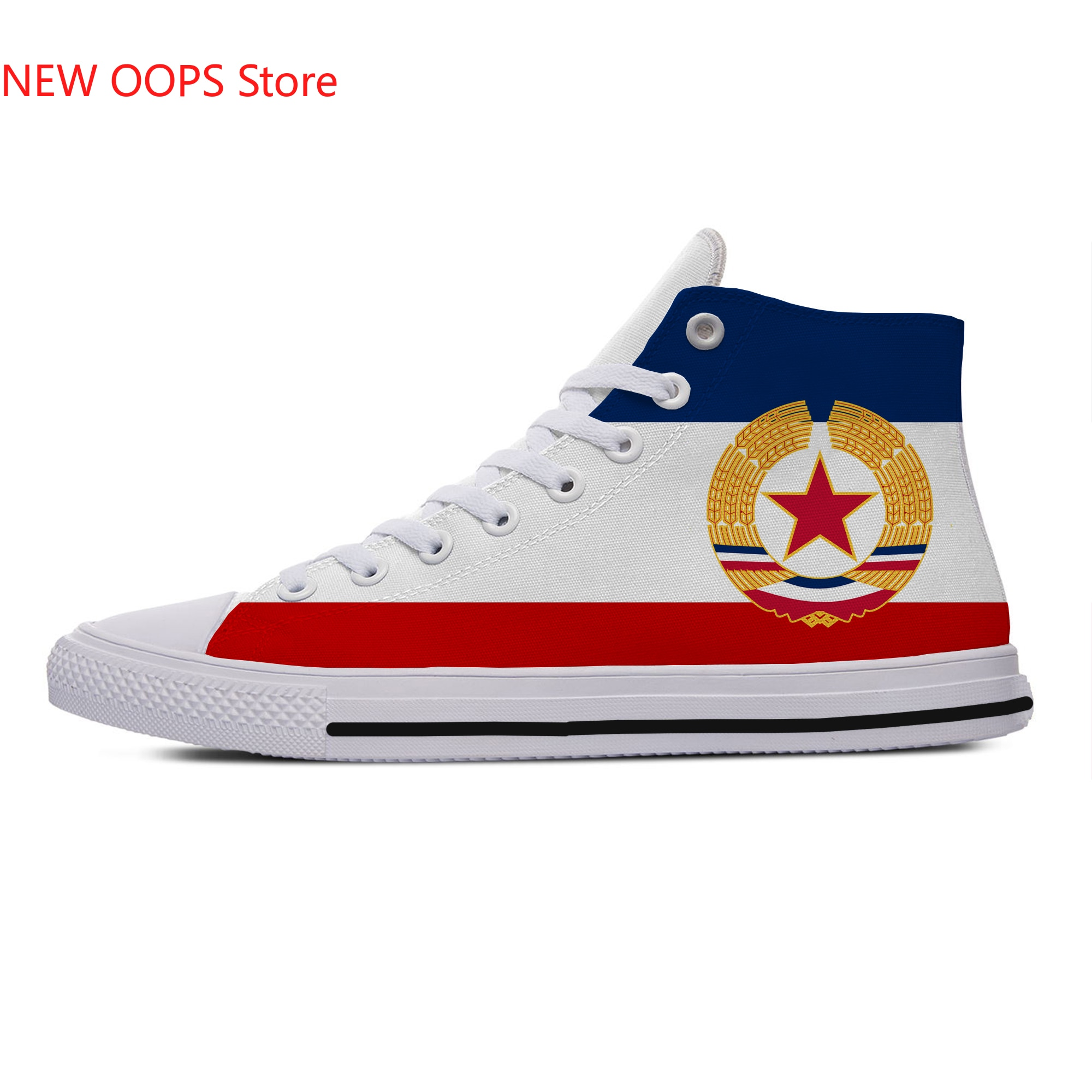 flag of yugoslavia New Arrive Fashion Lightweight High Top Canvas Shoes Men Women Casual Breathable Sneakers