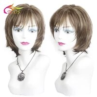 short mixed color fluffy wigs for women african american synthetic fiber heat resistance hair wig with bangs
