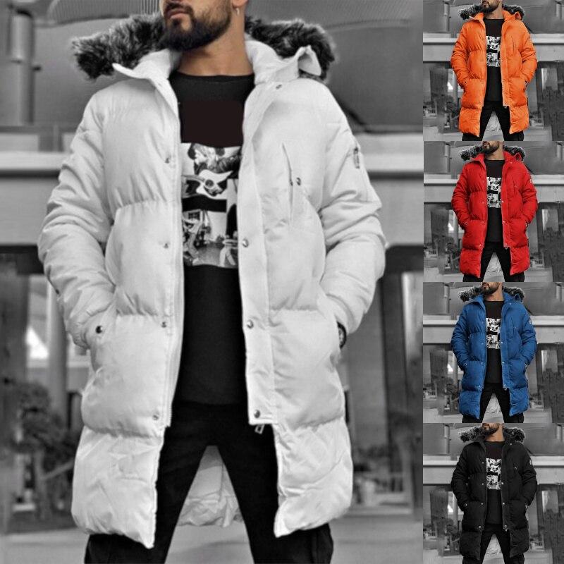 Winter Jacket Men's Parka Fur Collar Hooded Thicken Warm Coat Solid Colour Pocket Casual Mens Jacket Fashion Streetwear Outwear