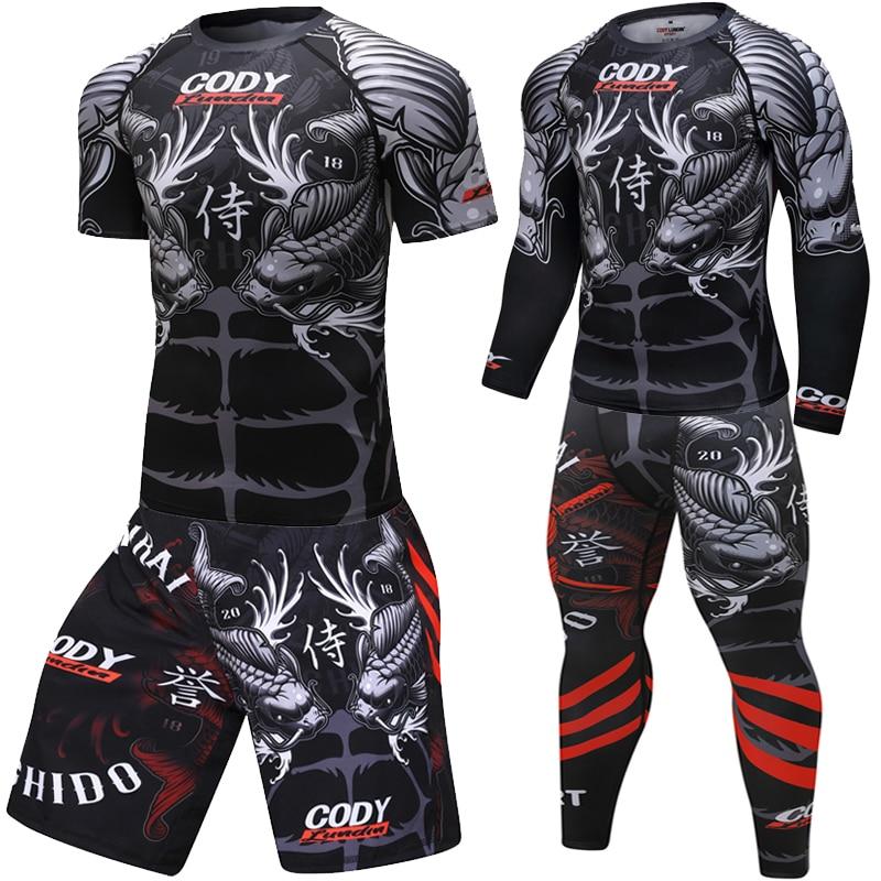 MMA Rashguard Muay Thai Boxing Jerseys Sets Sublimated Bright Print Carp Pants T Shirt Boxeo BJJ JiuJitsu Rash Guard Fightwear