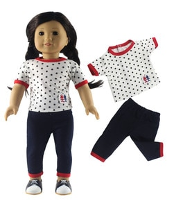 2 PCS Doll Clothes for 18' American Doll Handmade Student Clothes X41