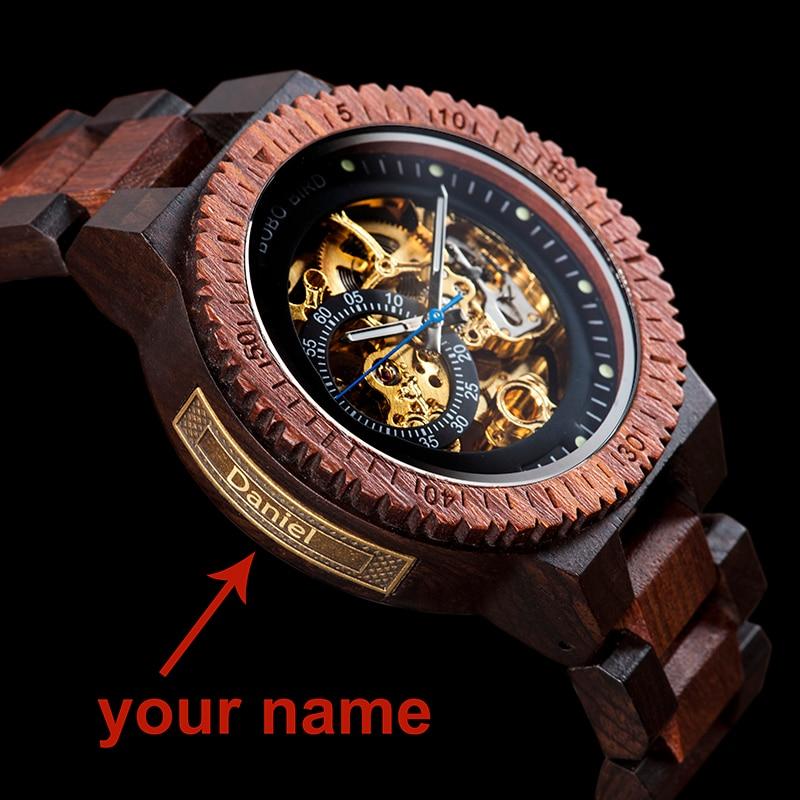 Personalized Customiz Watch Men BOBO BIRD Wood Automatic Watches Relogio Masculino OEM Anniversary G