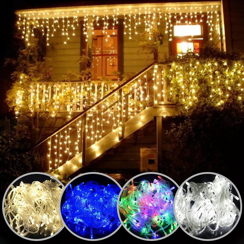 Christmas lights waterfall outdoor decoration 5M droop 0.4-0.6m led lights curtain string lights party garden eaves decoration