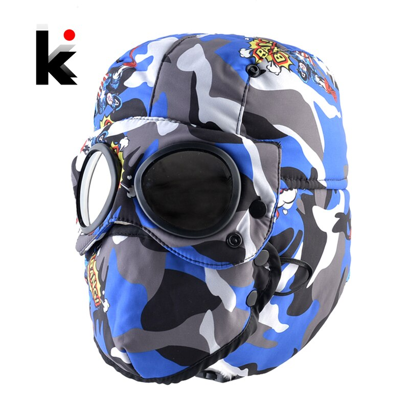 Winter Bomber Hats Boys Girls Warm Outdoor Thick Hats With EarFlaps Kids Windshield Trapper Masks Ha