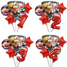 6pcs Mcqueen Car Birthday Shield Foil Balloons Baby Shower Party Decoration Kids 18inch Round Car He
