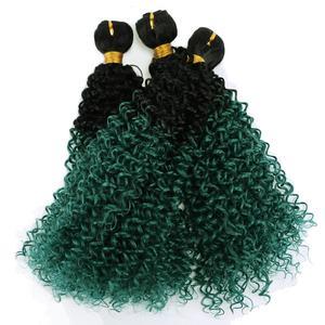 Афро кудрявые пряди Омбре, черный до зеленый, косплей, синтетические волосы, волнистые удлинители для женщин