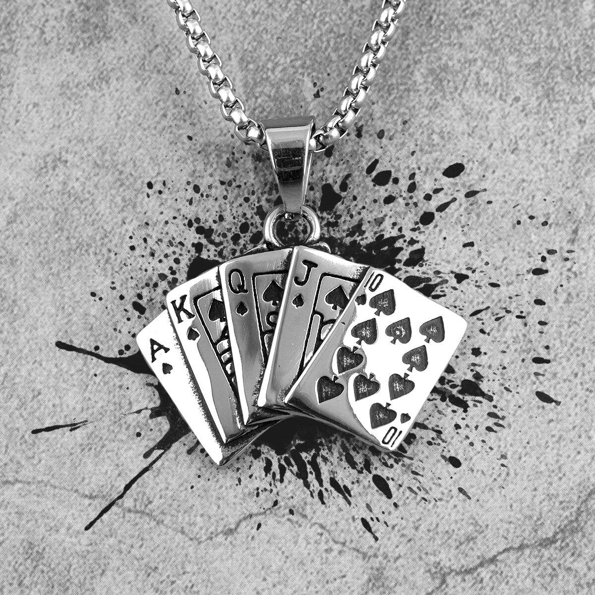 Pingentes compridos para homens, pingentes de poker punk para namorado, joias de aço inoxidável, presente de criatividade