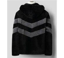 209 New Real Fur Coat Men Autumn Winter Sheep Shearing Wool Jacket Hooded Korean Mens Wool Fur Coats C-01-1823 KJ3304