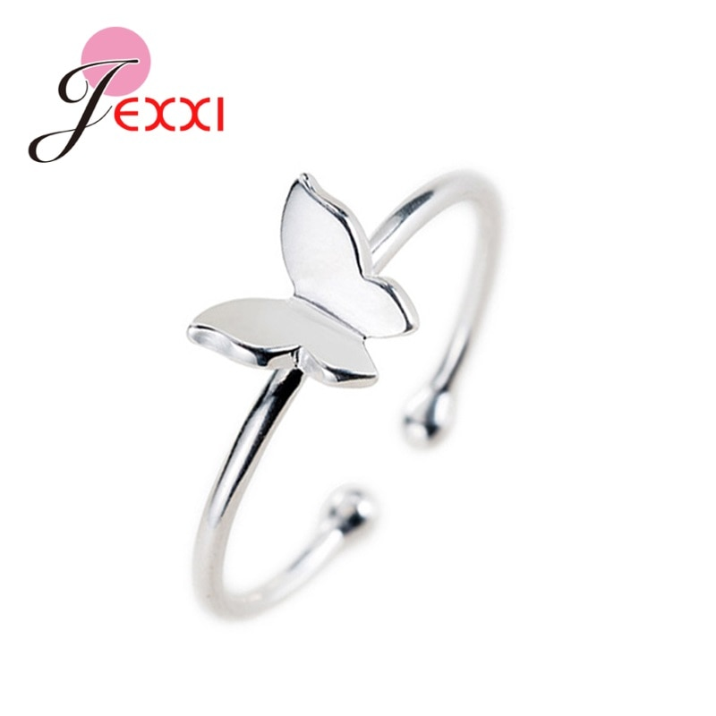 High Quality Simple 925 Sterling Silver Butterfly Open Finger Rings Women Girls Lovely Birthday Jewelry Gift Ring Adjustable