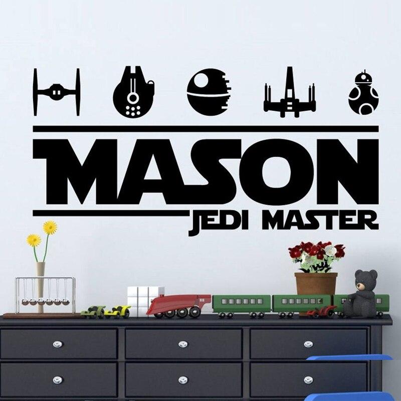 Star Wars íconos pared calcomanía nombre personalizado vinilo pegatina niños dormitorio decoración cumpleaños regalo DIY 2142