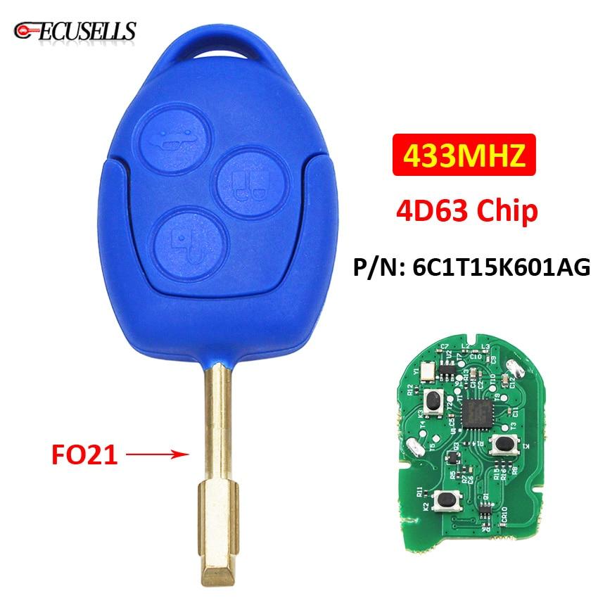 3 botão chave remota do carro inteligente chave 433 mhz 4d63 chip fo21 lâmina uncut p/n 6c1t15k601ag para ford transit wm vm 2006-2014