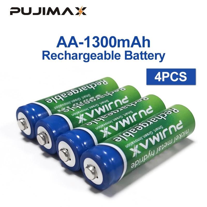 Аккумуляторная батарея PUJIMAX 1,2 V 1300mAh AA батарея 4 шт предварительно Заряженная перезаряжаемая ni mh Аккумуляторная батарея для микрофона камеры