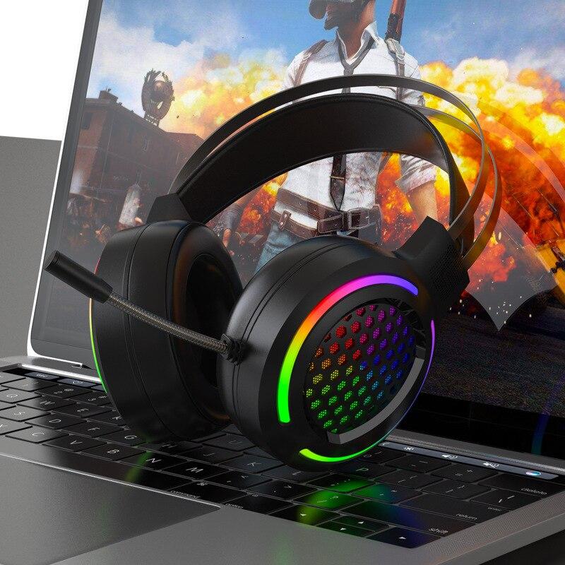 X2 حفرة الجوف التدريجي RGB E-Sports PlayerUnknown's Battlegrounds السلكية الكمبيوتر رئيس شنت الثقيلة باس USB 7.1 سماعة