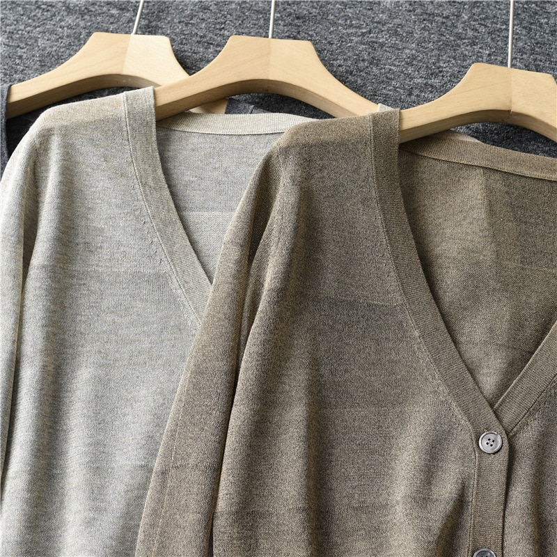SHUCHAN THIN Striped  Fall Sweaters for Women 50% Viscose 30% Silk 20% Cotton Cardigans Fashion England Style  Dropshipping enlarge