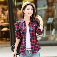 women blouses turn down collar spring shirts plaid all match loose outwear harajuku female shirts oversized korean style jackets