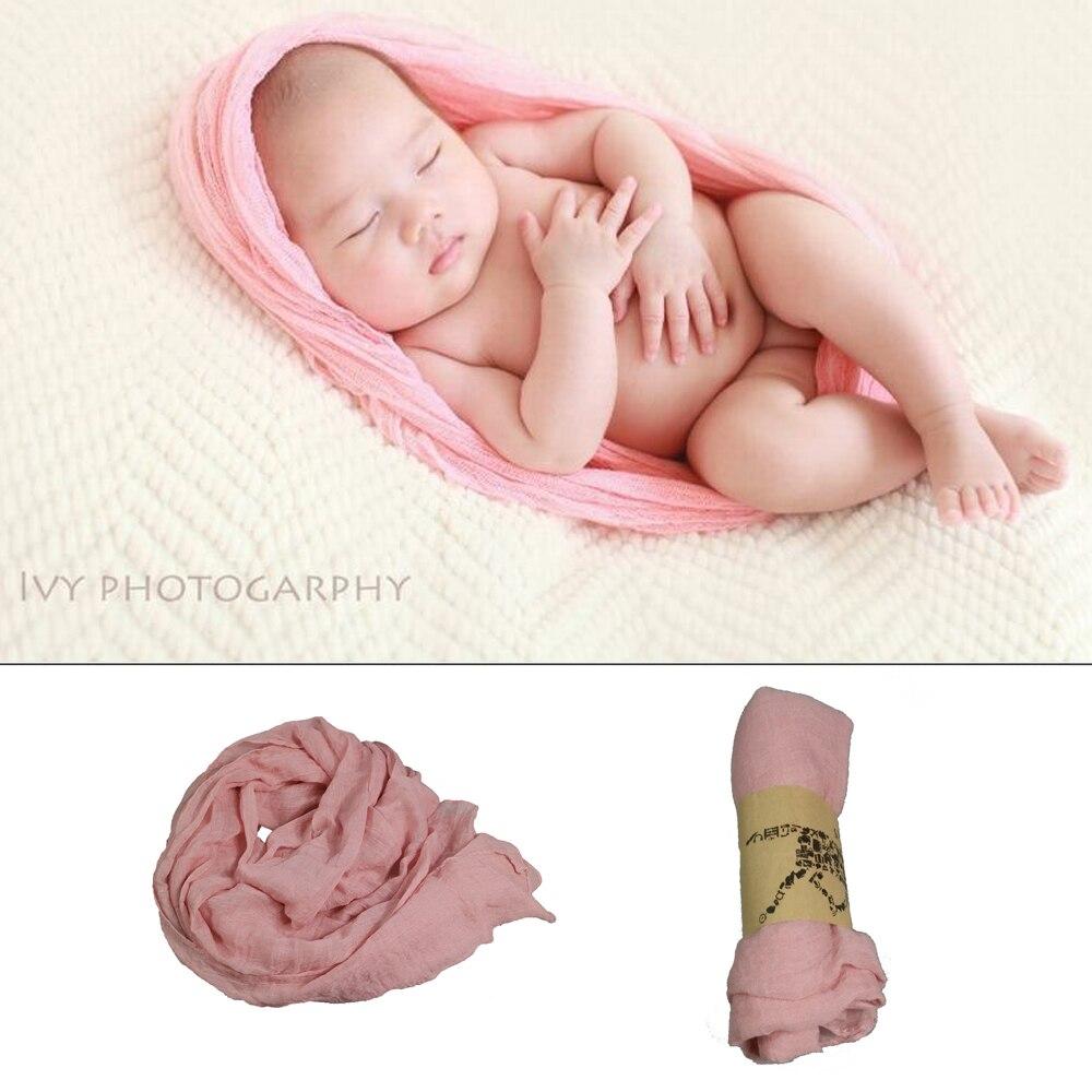¡Liquidación! 3 unids/lote 90x180cm Cheesecloth teñido Rosa Wrap hamacas bebé para bebé recién nacido fotografía accesorios foto telón de fondo
