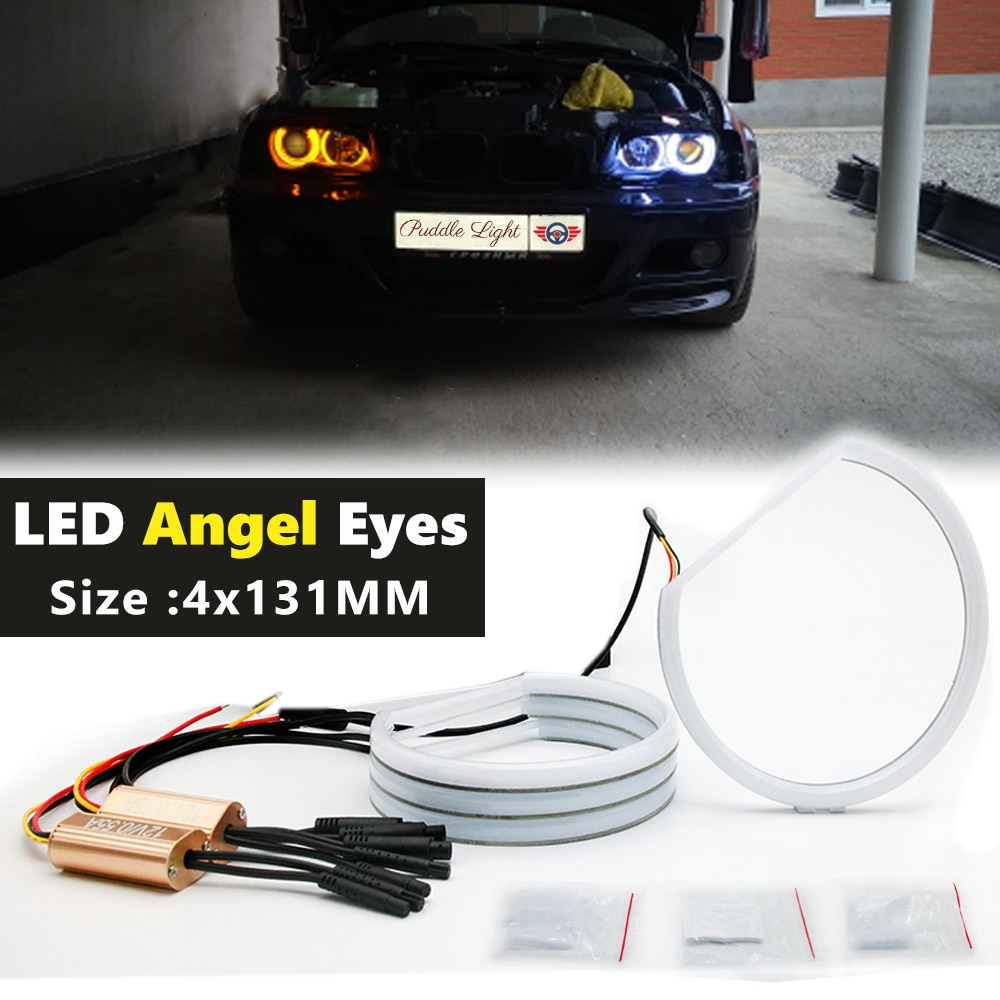 Car-styling Dual color WHITE Yellow 4X131MM LED Halo Rings Cotton Light For BMW E36 E38 E39 E46 M3 LED SMD Angel Eyes Lamp