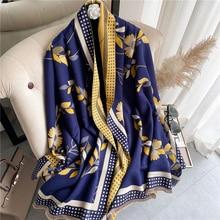Winter Thick Warm Print Scarves Women 2021 Solider Cashmere Shawl Wrap Foulard Hijab Bufand with Tas