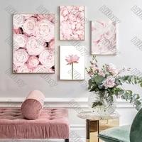 Affiche rose doux fleurs ananas plante toile peinture mur Art Nature decoration de la maison pour salon et chambre sans cadre