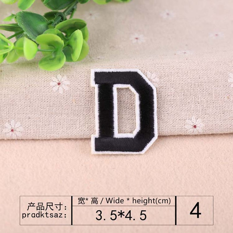 A-Z 3D English Alphabet Black White Letters Patches Iron on for Clothes Applique for Jacket Jeans Backpack Badge DIY Patchwork