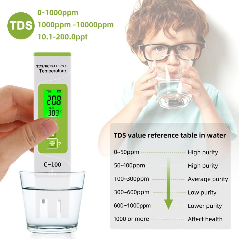 New 5 in 1 TDS/EC/Salinity/S.G./Temperature Meter Digital Water Quality Tester for household, Pools, Drinking Water, Aquarium недорого