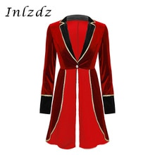 Womens Adult Circus Ringmaster Costume Long Sleeve Blazers Jacket Coat Christmas Halloween Carnival