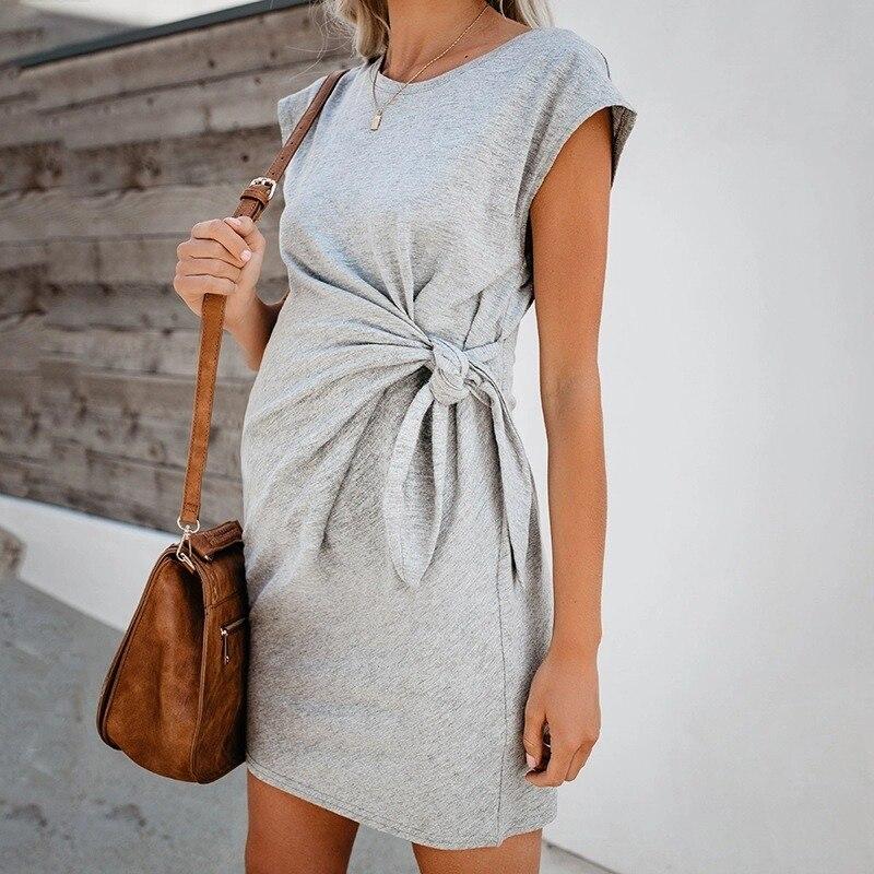 2020 популярное однотонное платье с завязками на талии для беременных женщин, мягкое и удобное хлопковое платье для беременных