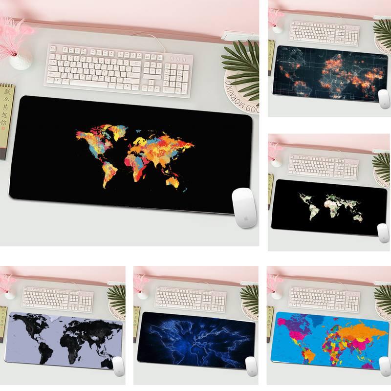 World Map Travel Laptop Gaming Mice Mousepad L Large Gamer Keyboard PC Desk Mat Computer Tablet Gaming Mouse Pad