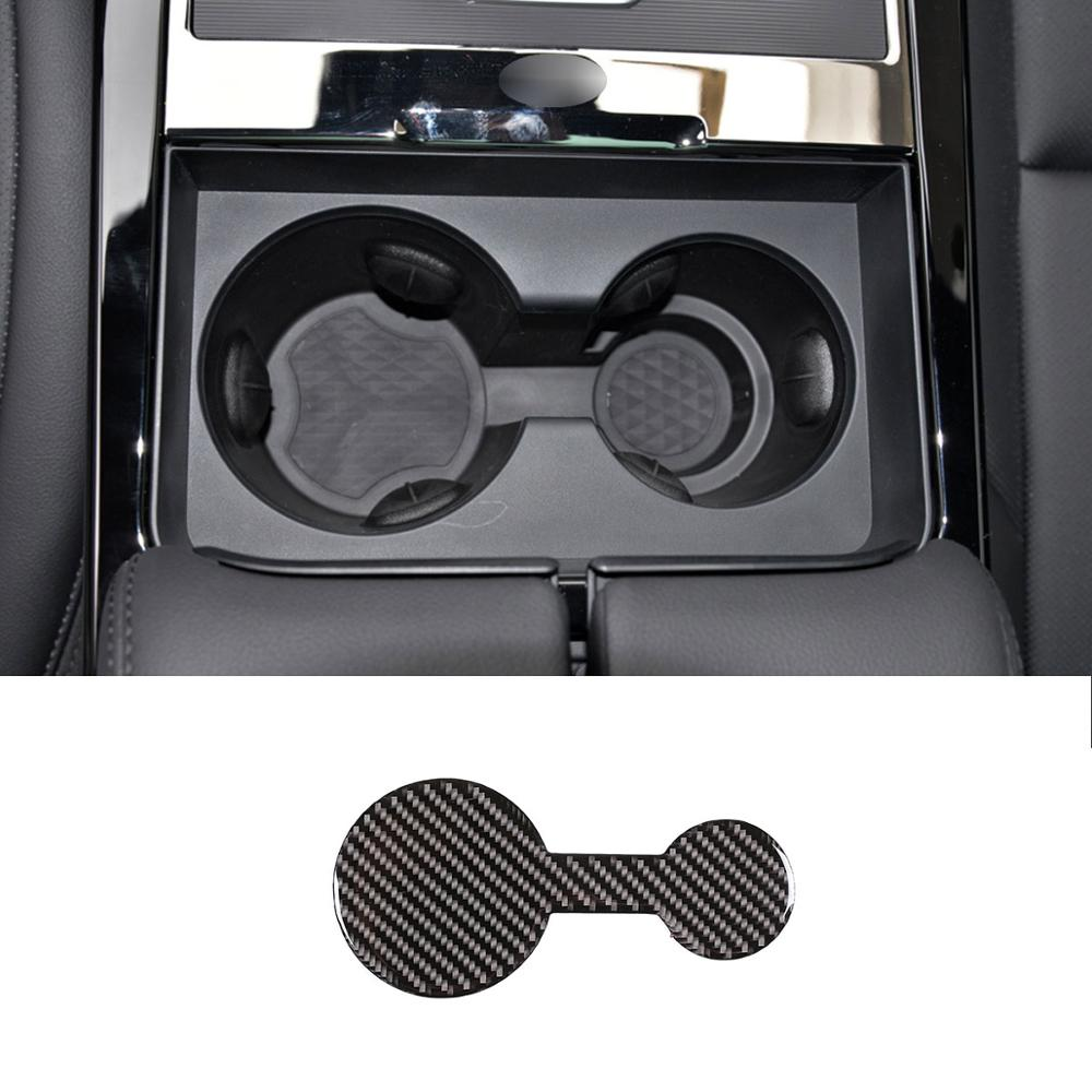 Real CarbonFiber coche consola Central sostenedor de taza de agua del coche Montaña Rusa Interior para Range Rover Evoque (L551) 2019-2020