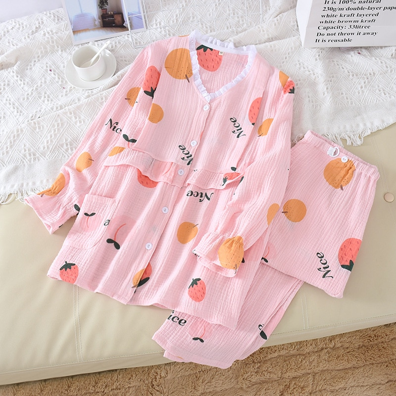 Fdfklak Long Sleeve Nursing Nightwear Maternity Clothes Set Spring Autumn New Pijamas Women Cotton Pregnancy Sleepwear enlarge