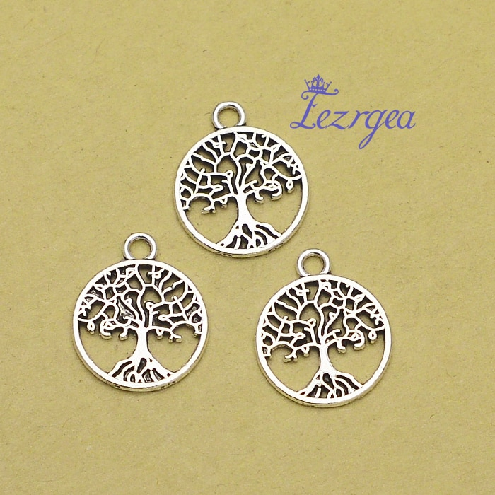 50pcs/lot--18x15mm, tree chams, Antique silver plated of life charms,DIY supplies, Jewelry accessories