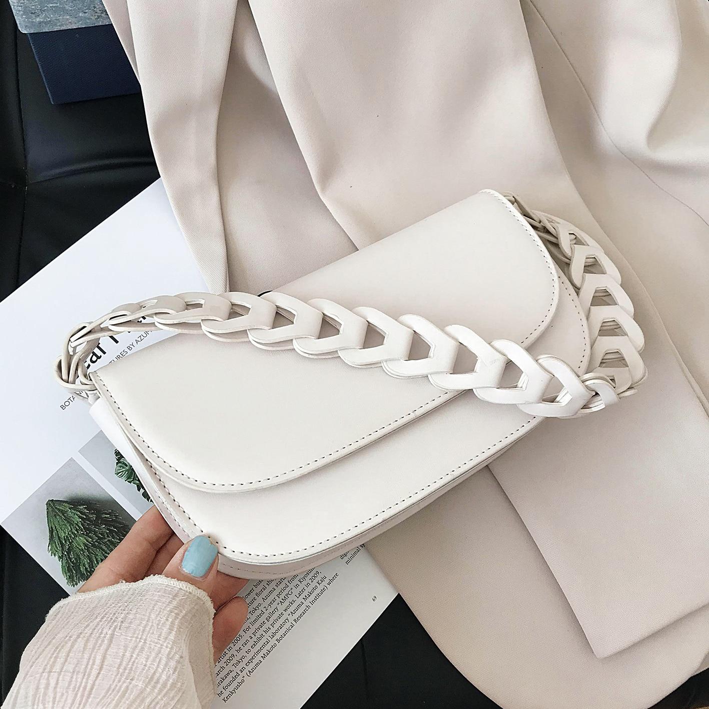Weave Shoulder Belt PU Leather Crossbody Bags For Women 2020 Elegant Small Shoulder Handbags Female Travel Cross Body Bag